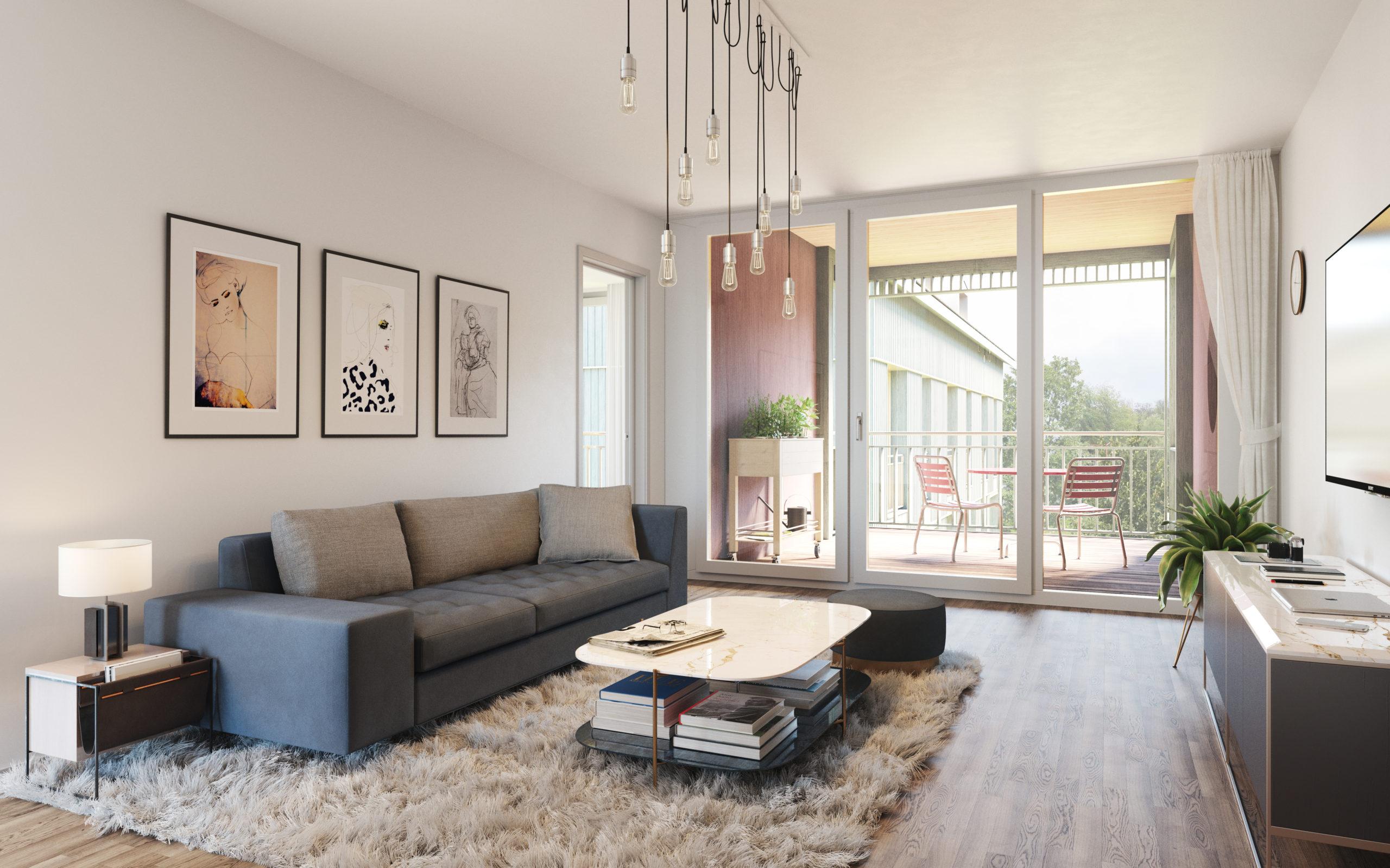 Innenvisualisierung Wohnzimmer 1